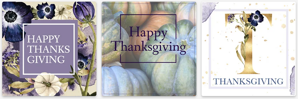 Happy Thanksgiving social media post templates for Instagram and Facebook with flowers, pumpkins, and fall leaves