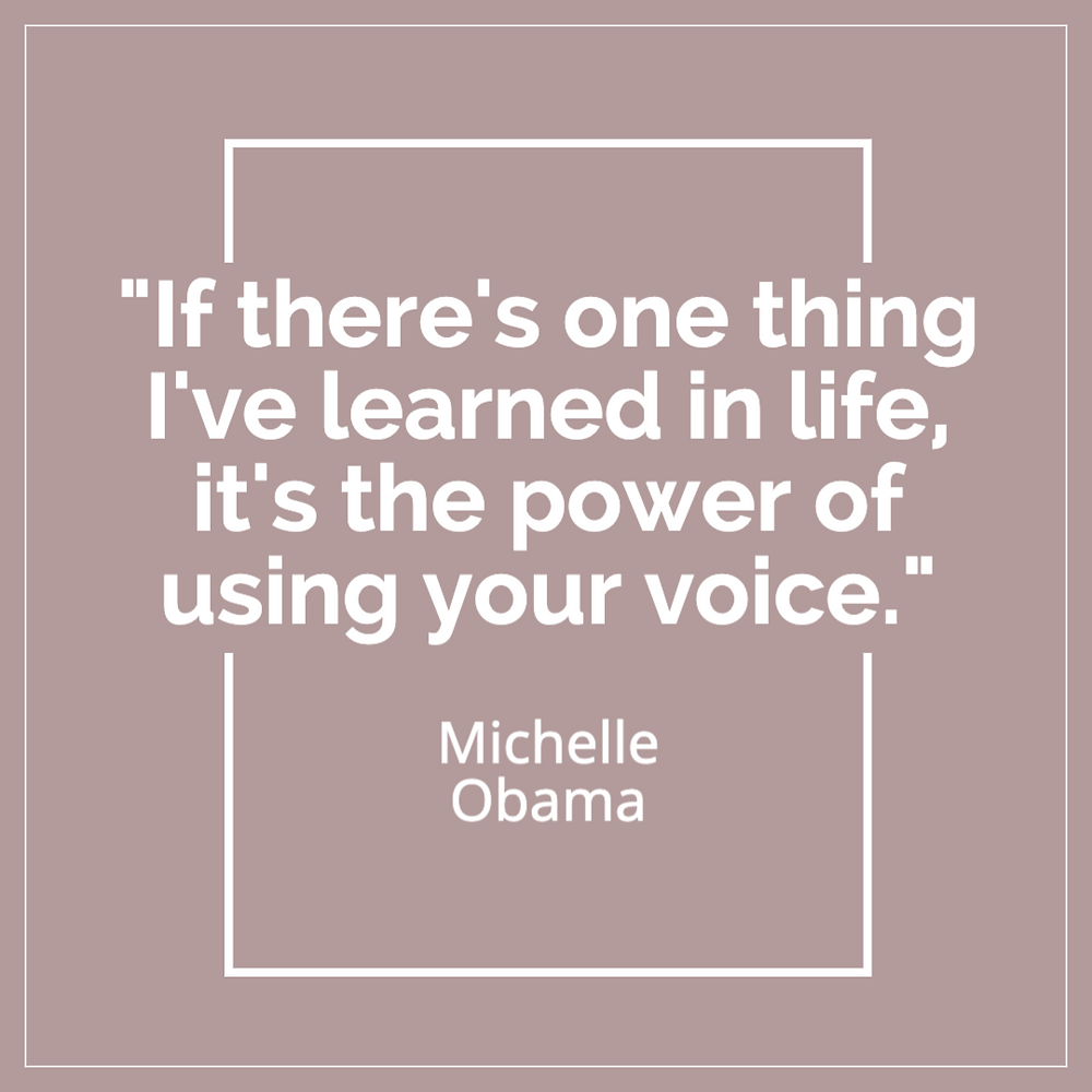 Michelle Obama quote about social justice and positive change.