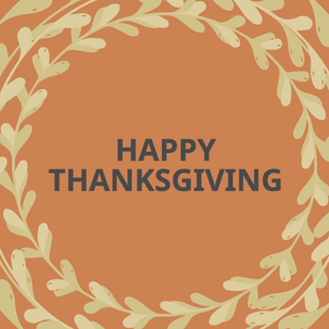 Orange Thanksgiving garland post for social media with Happy Thanksgiving message