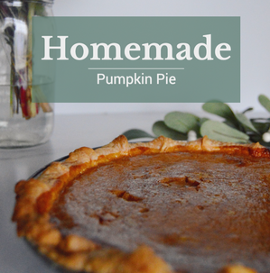 Pumpkin pie social template with homemade pumpkin pie and green text for Thanksgiving and Fall