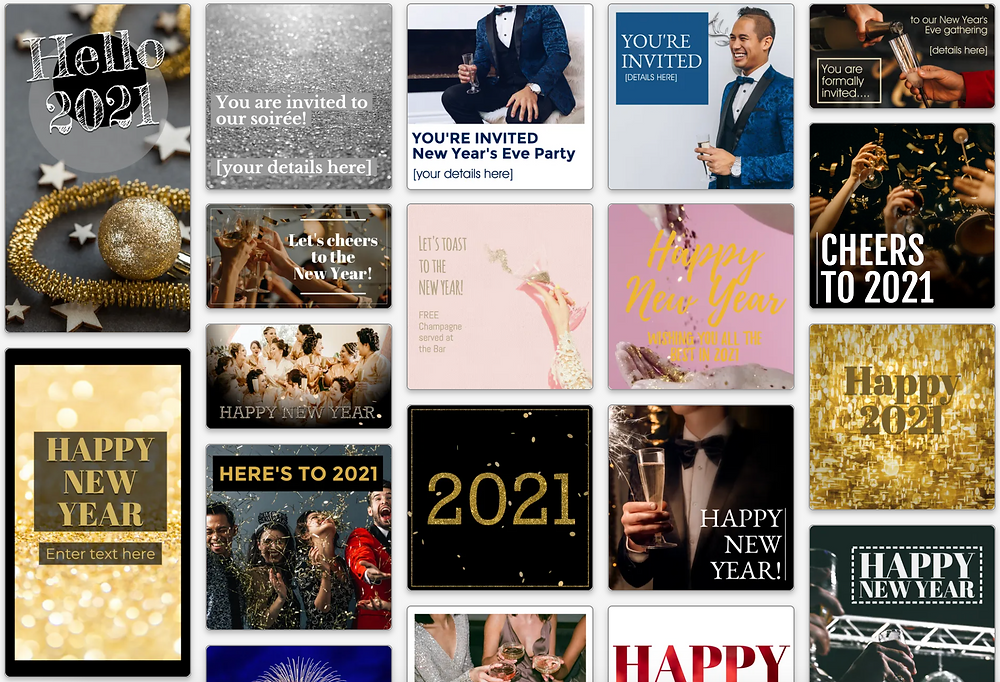 Happy New Year social media template collection for New Year's 2021