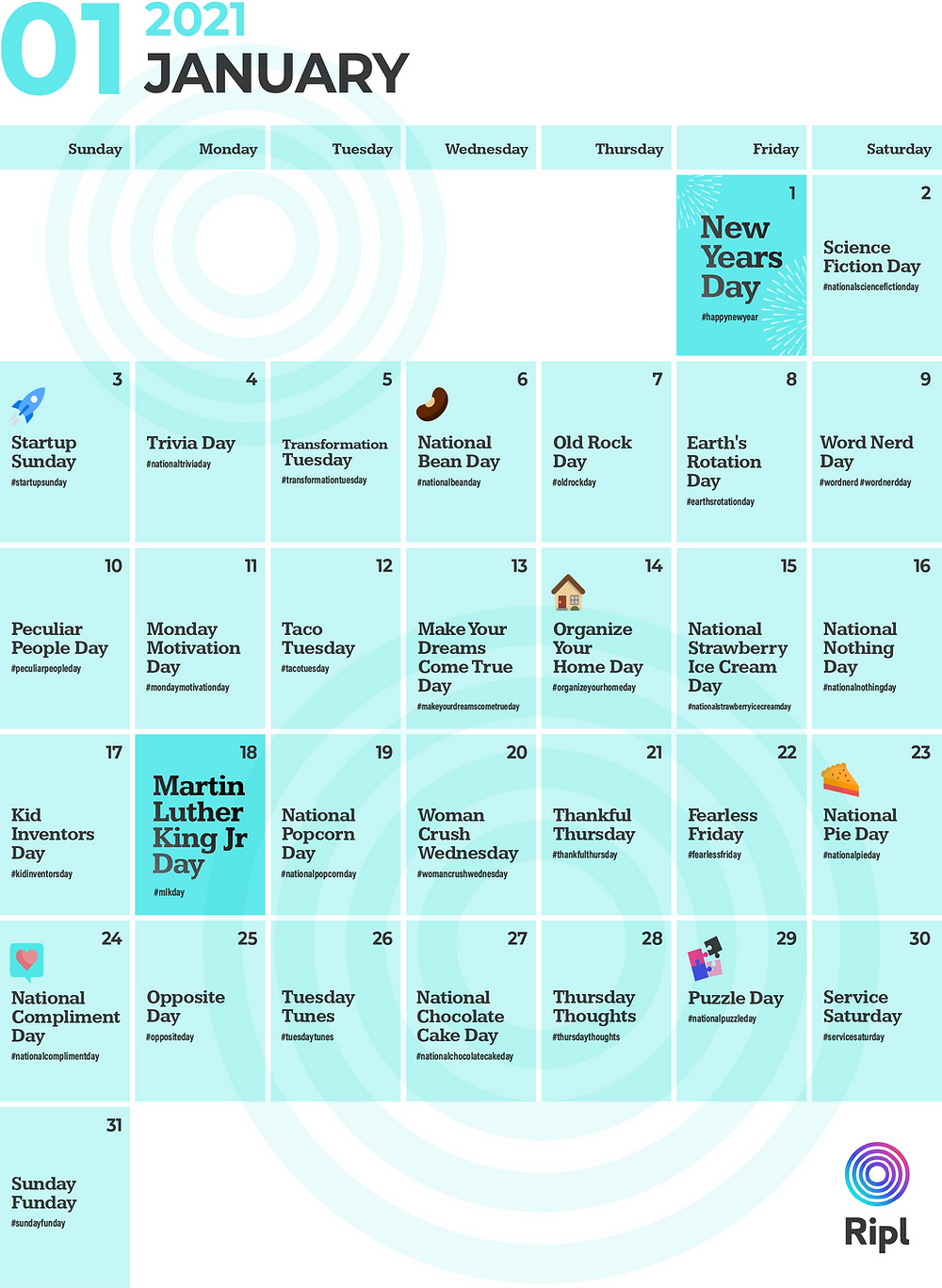 January 2021 social media holiday content calendar for small businesses