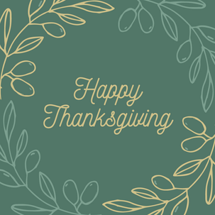 Happy Thanksgiving post template on green background with gold and green leaves