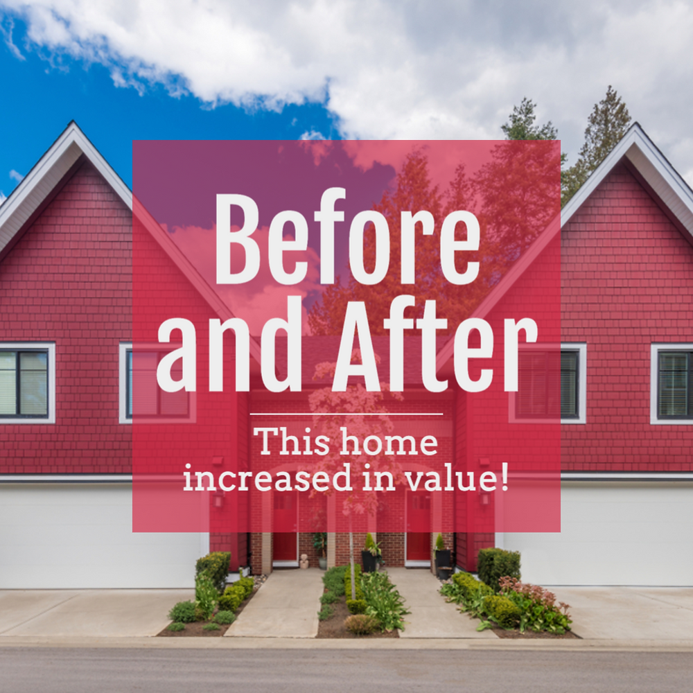 Before and after home renovation social media post template home increased in value