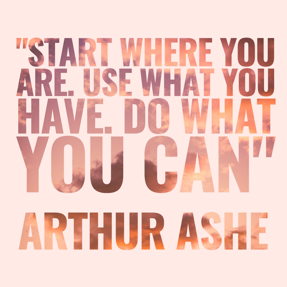 Millennial pink social media post template with inspirational quote by Arthur Ashe