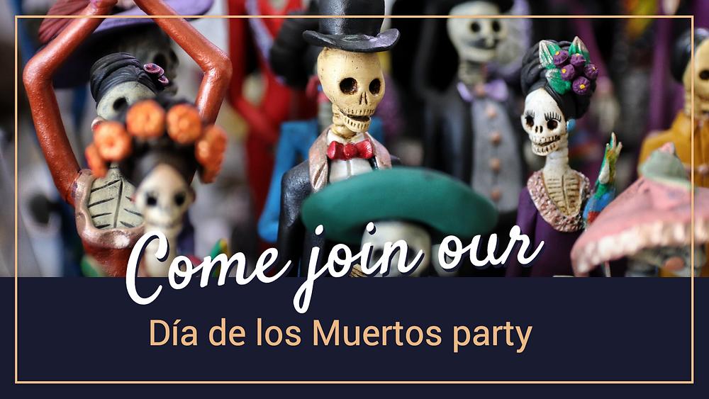 Día de los Muertos party social media post with skeletons
