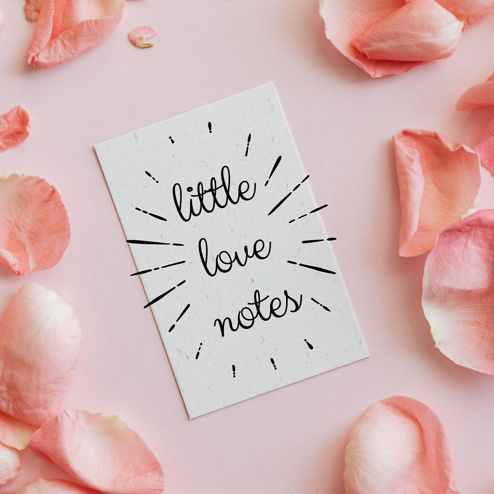 Valentine's Day social media post template with little love note copy on a pink background with pink rose petals
