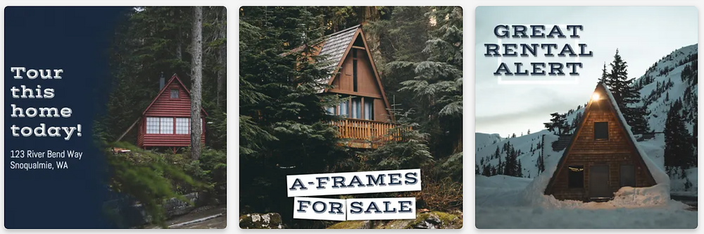 Social media post templates featuring cozy cabins in the winter