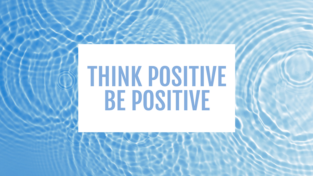 Think positive be positive social media post template with rippling water