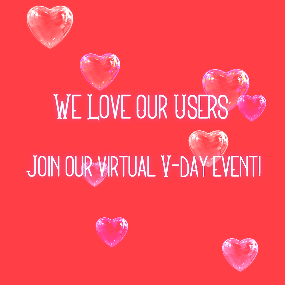 Red Valentines day social media template with moving heart bubbles