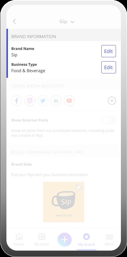 Inside the Ripl app brand settings for social media