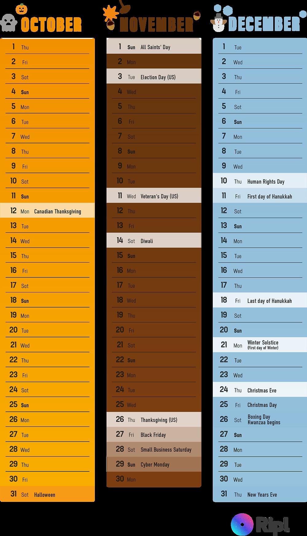 Social media content calendar for October, November, and December 2020