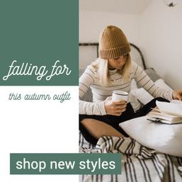 Falling for fall green social media post template