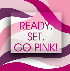 Ready set pink graphic social media illustration post template with light pink, dark pink, and purple swirls for Breast Cancer Awareness Month