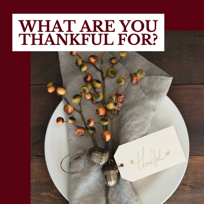 Thankful Thanksgiving social post template with fall bouquet tablescape place setting for Thanksgiving dinner