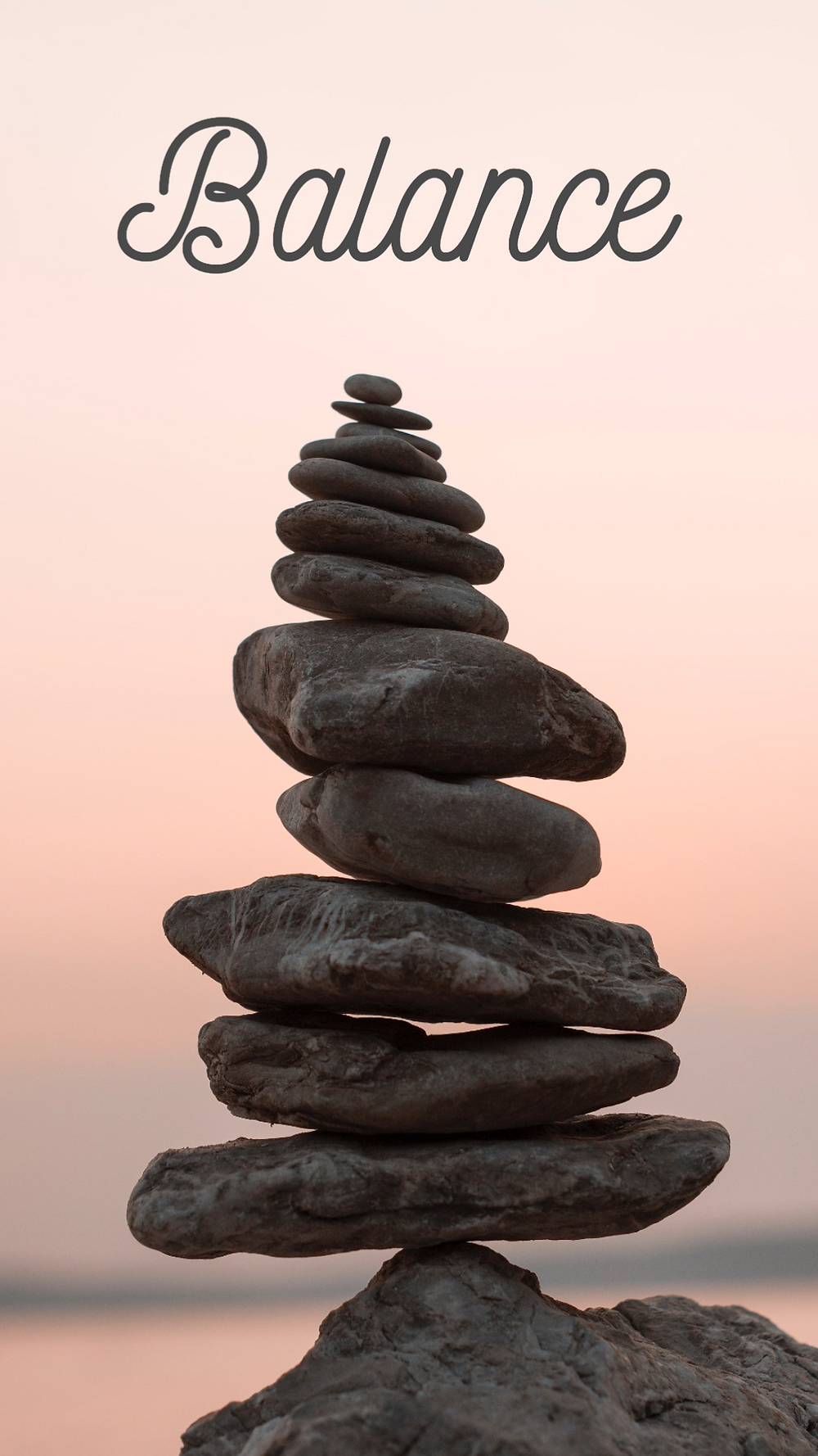 Balance mindfulness social media story template with stacked rocks on a beach