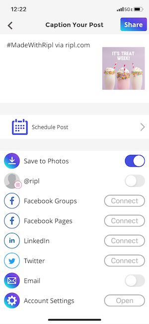Schedule your social media post to any account or save it for later