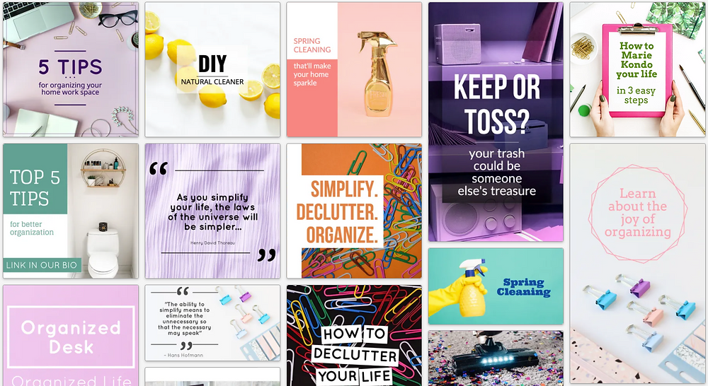 Get organized home organization social media post template collection