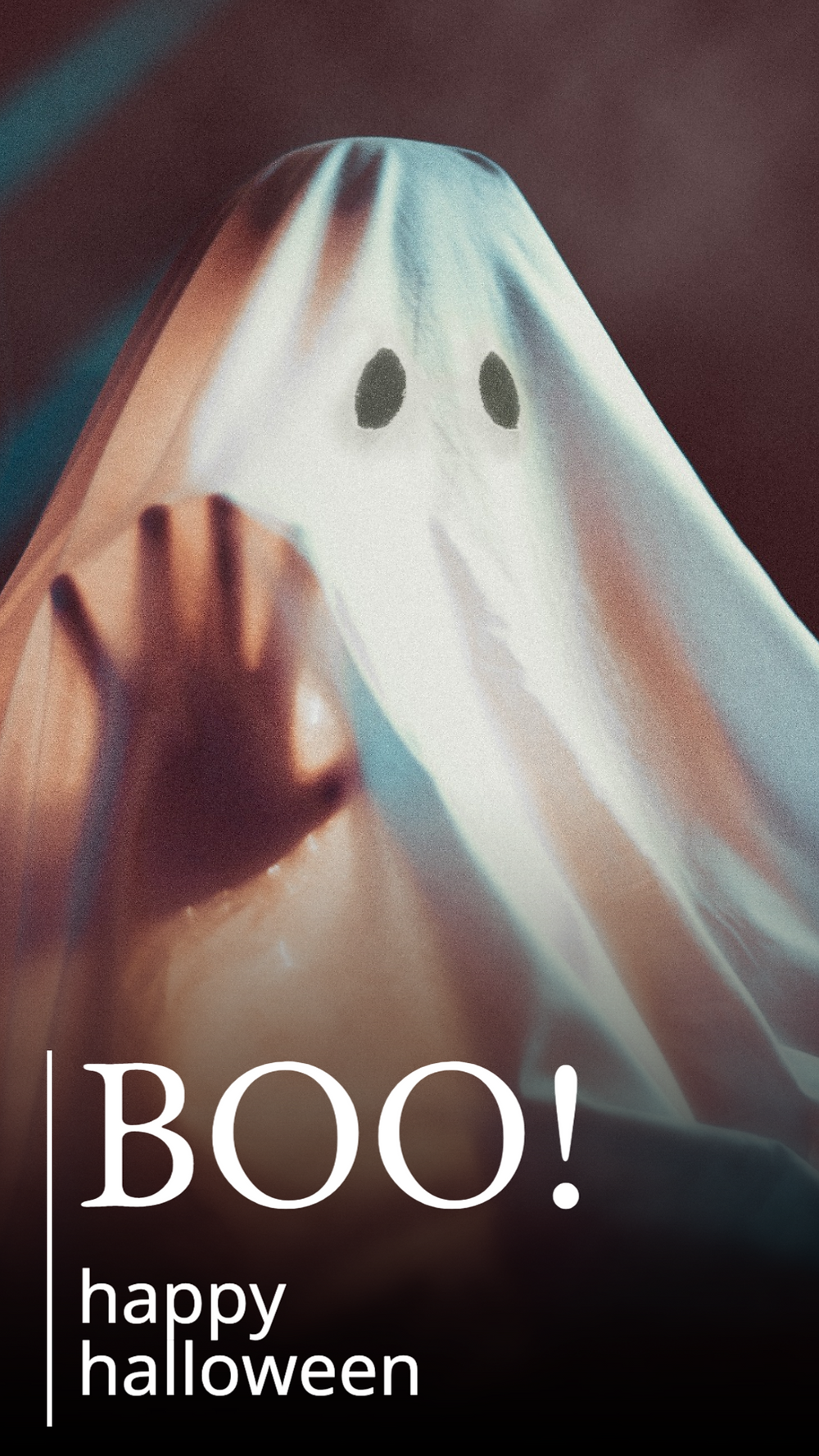 Boo Happy Halloween Instagram story or Facebook story with sheet ghost