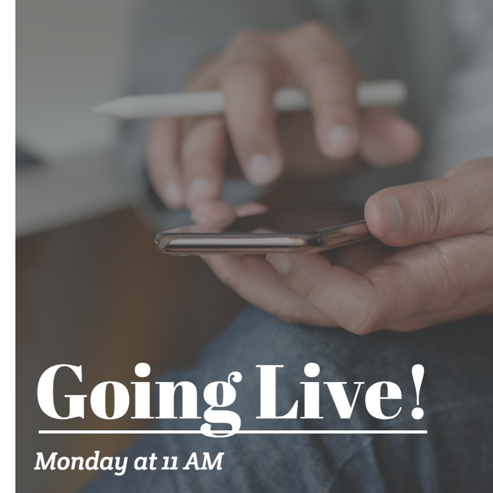 Going live social media post template