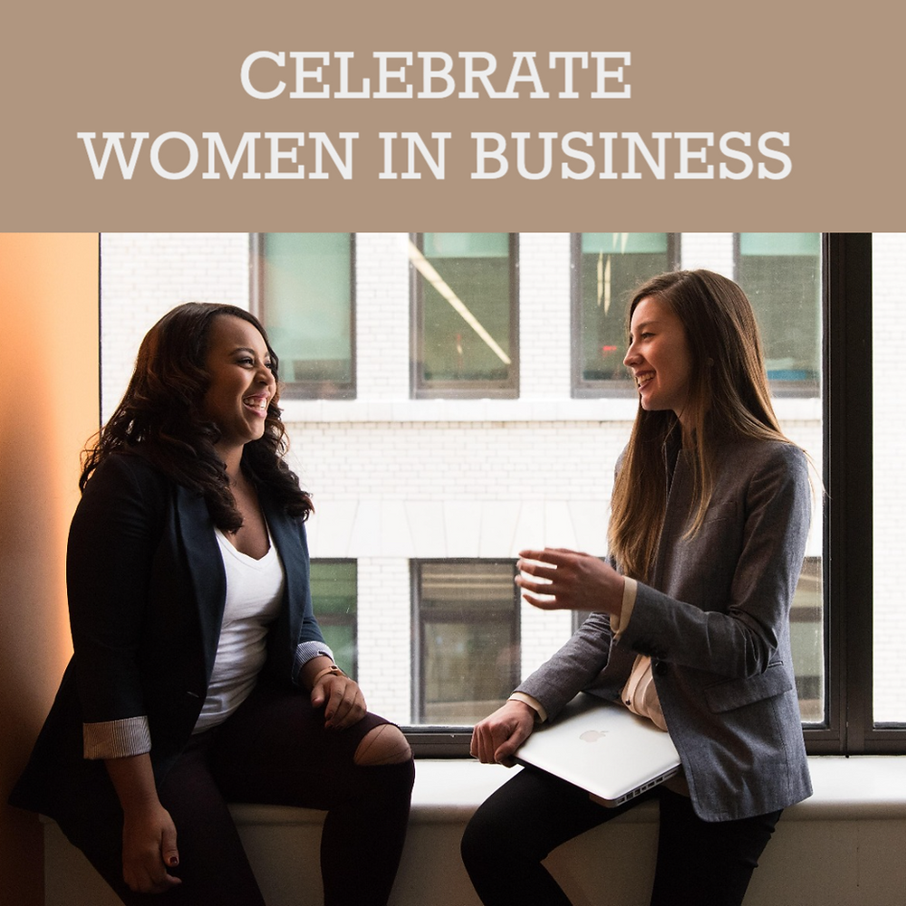 Two women business professionals talking and smiling