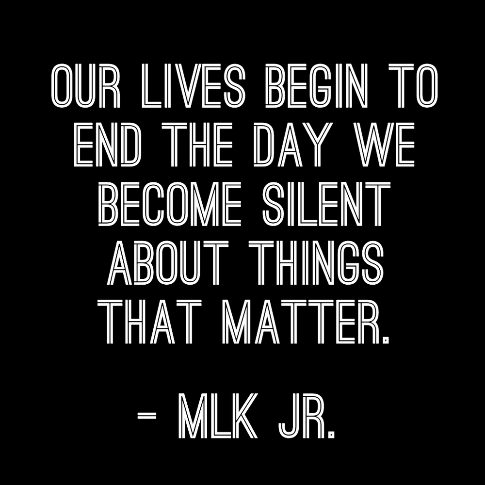 """MLK Martin Luther King Jr. Day social media post template with MLK Jr. quote """"our lives begin to end the day we become silent about things that matter""""."""