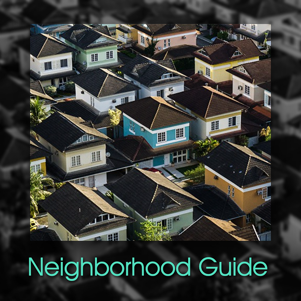 Neighborhood guide social media post template with neighborhood with colorful homes and houses