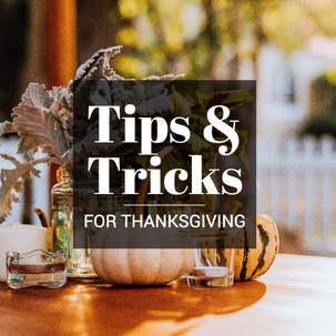 Thanksgiving social media post with pumpkins and Fall foliage