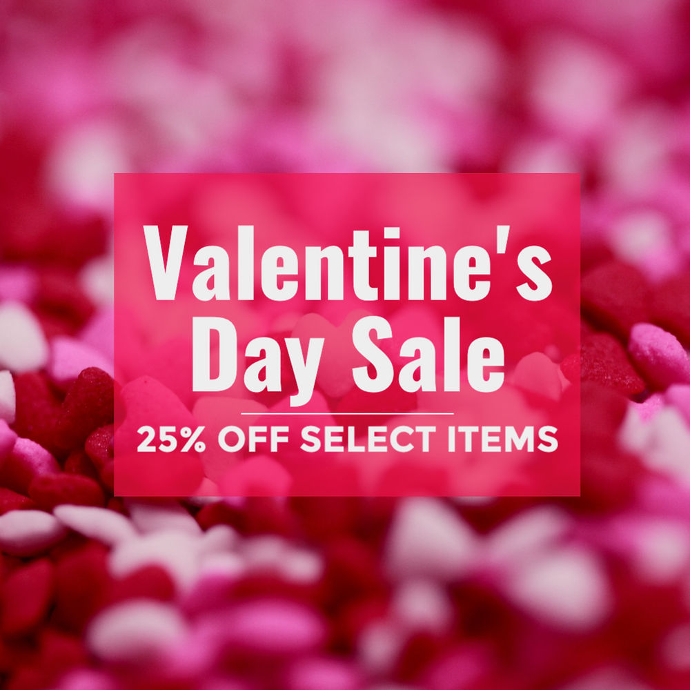 Valentine's Day sale social media post template in pink with hearts