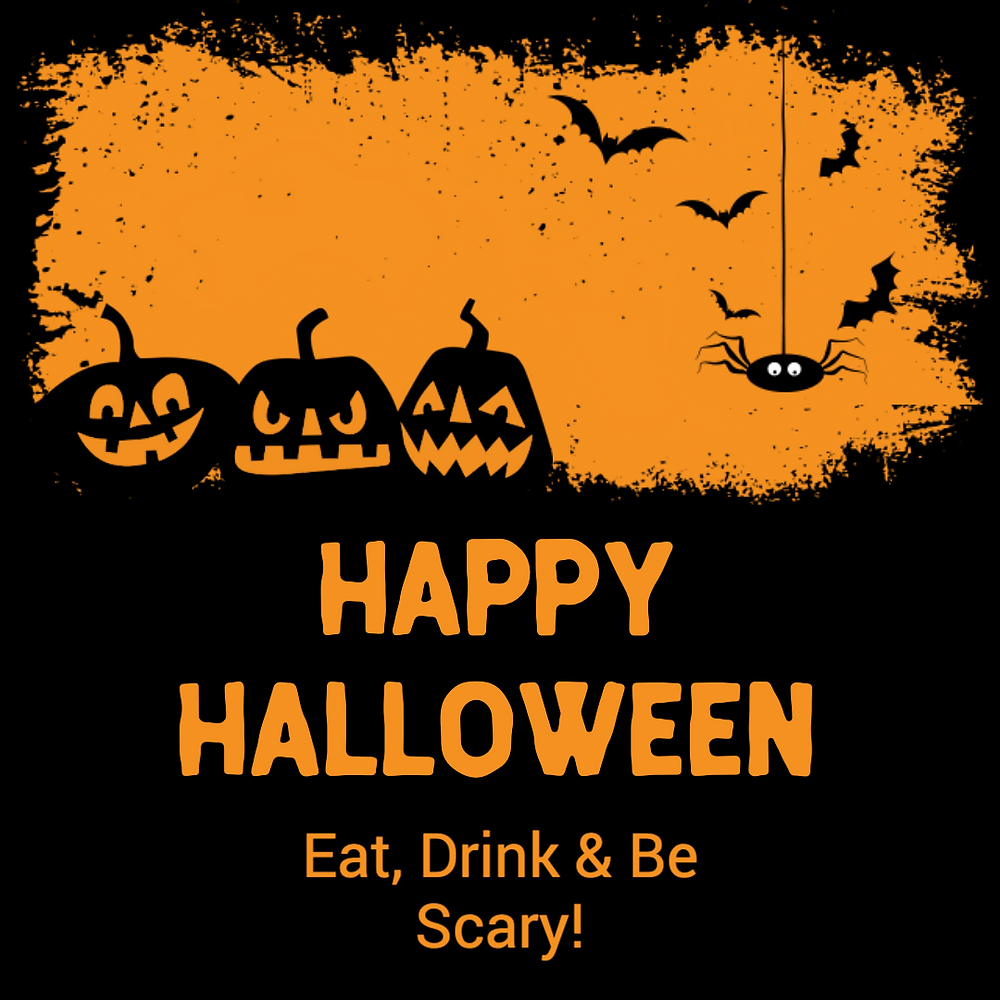 Orange and black Happy Halloween greeting social media post with pumpkins, bats, and a spider