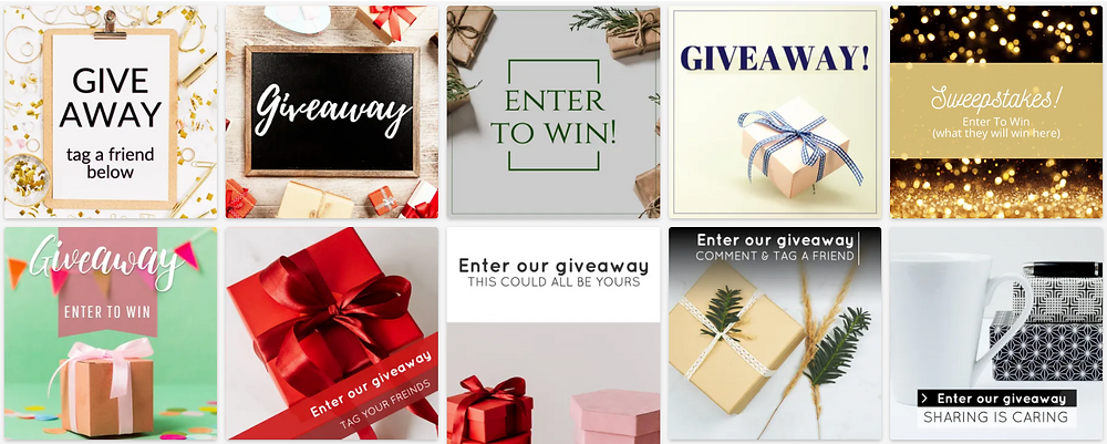 Social media giveaway and contest templates for Instagram and Facebook