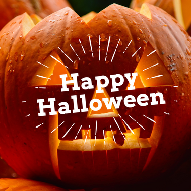 Happy Halloween pumpkin social media post template with jack o lantern
