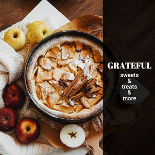 Grateful Thanksgiving apple pie post template for social media for bakeries and restaurants with cinnamon and apples
