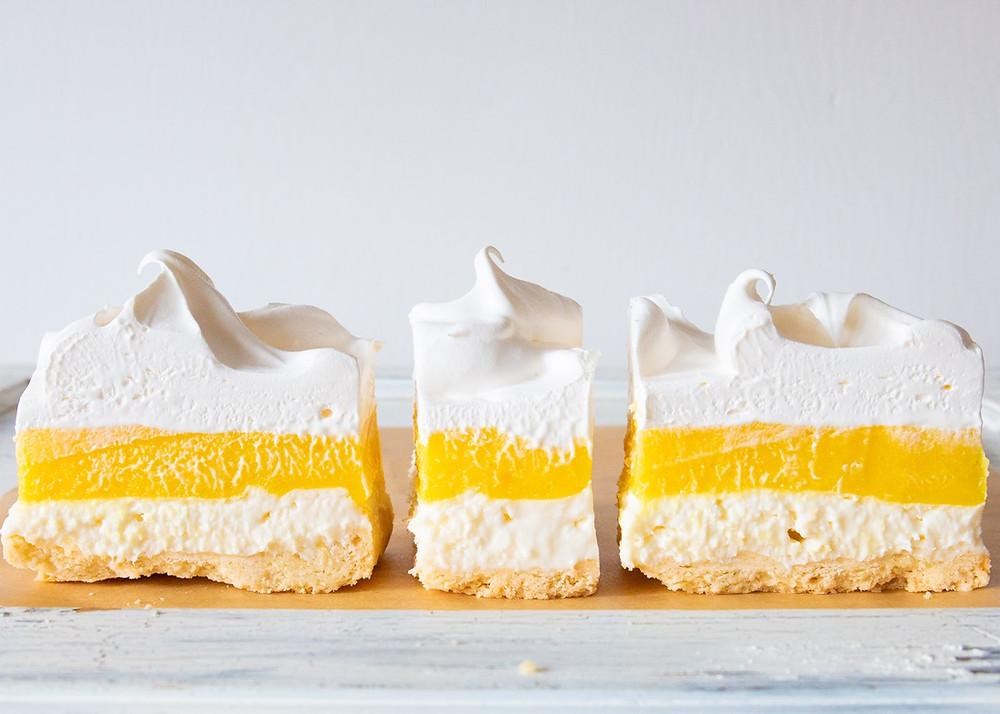 Yellow and white lemon meringue bars