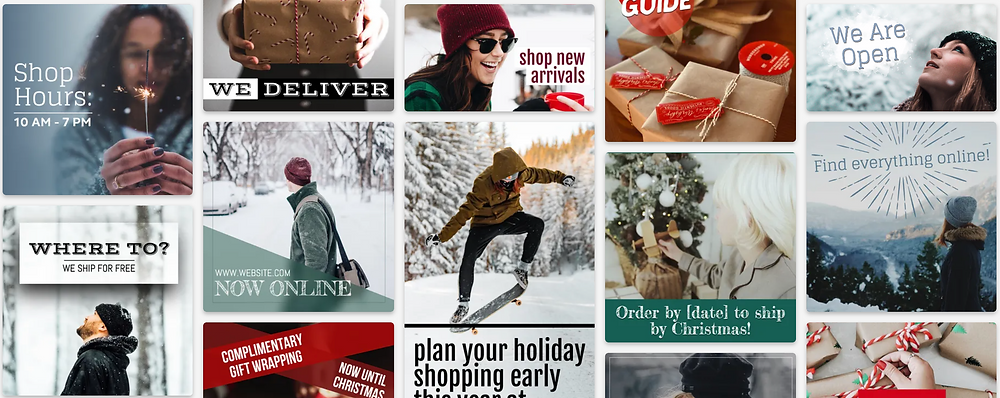 Holiday retail social media post template collection