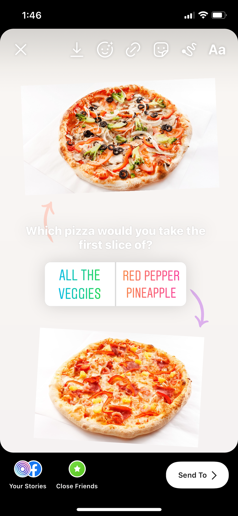 Example of a this or that Instagram story poll with pizza choices