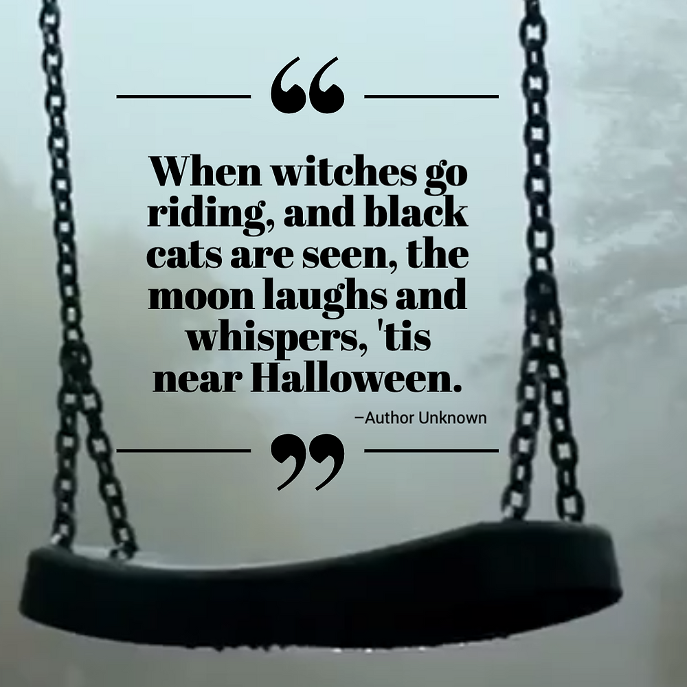 Spooky Halloween quote post with haunted playground and swing