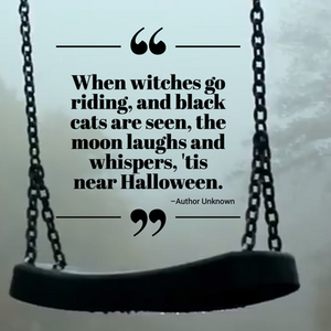 Spooky Halloween social media post about witches and black cats with a haunted swing