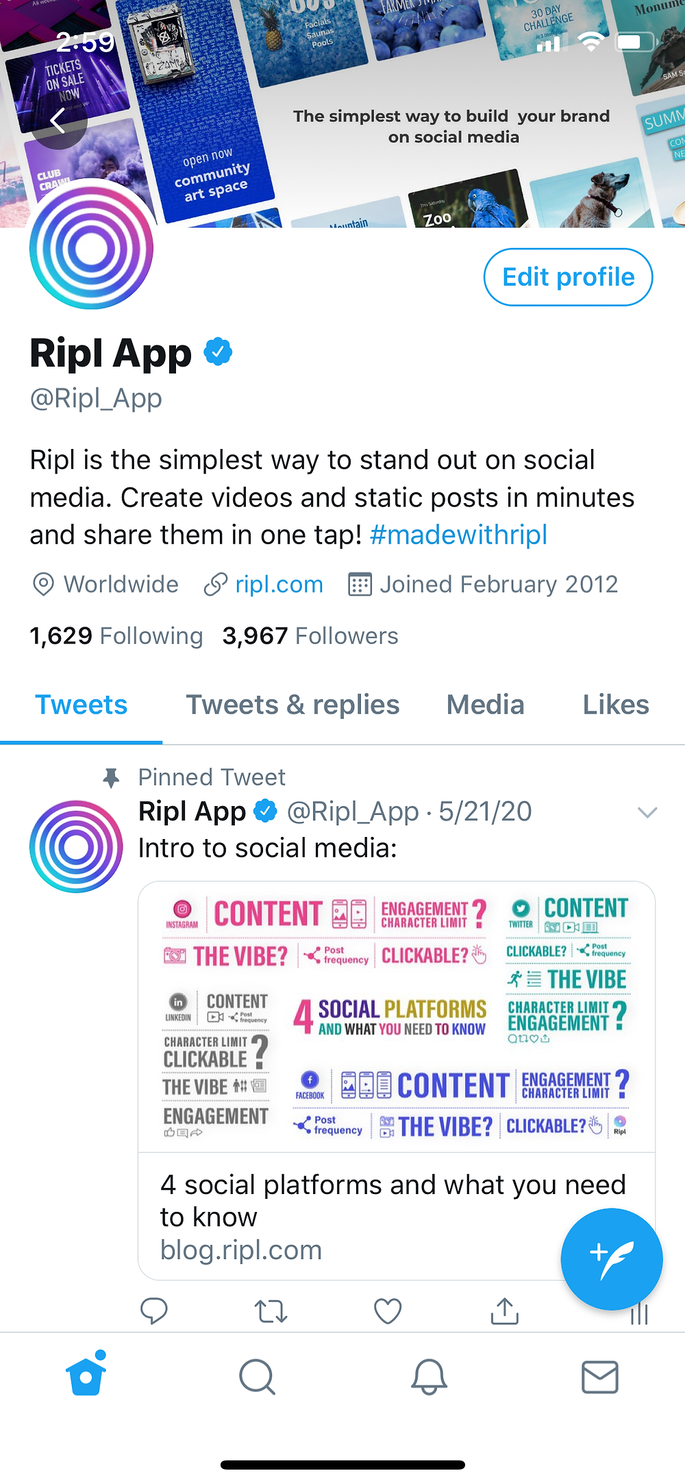 The Ripl Twitter page includes all necessary brand information including logo, banner, bio, website link, etc.