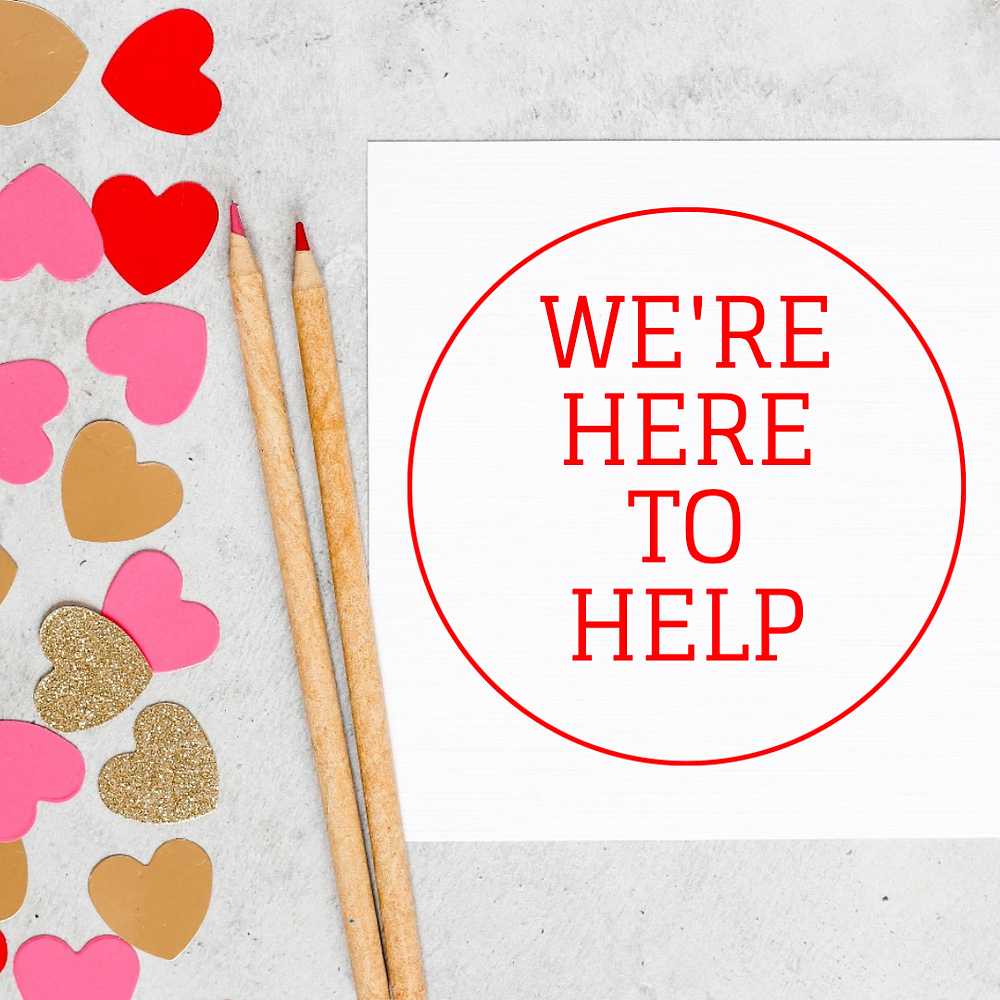 Valentine's day social media template with red and pink hearts and red and pink colored pencils
