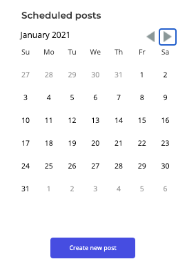 Calendar for January 2021 to schedule social media posts ahead of time
