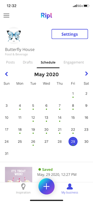 The calendar tool in the Ripl app makes it easy to schedule your social media posts for your business