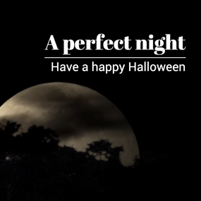 Happy Halloween social media post template with spooky full moon