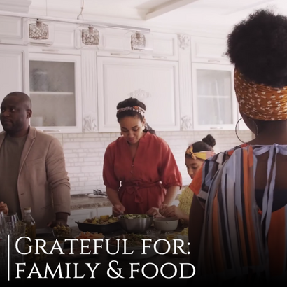Thanksgiving gratefulness post template for social media with family and food