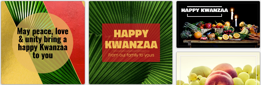 Kwanzaa social media post templates in green, gold, and red