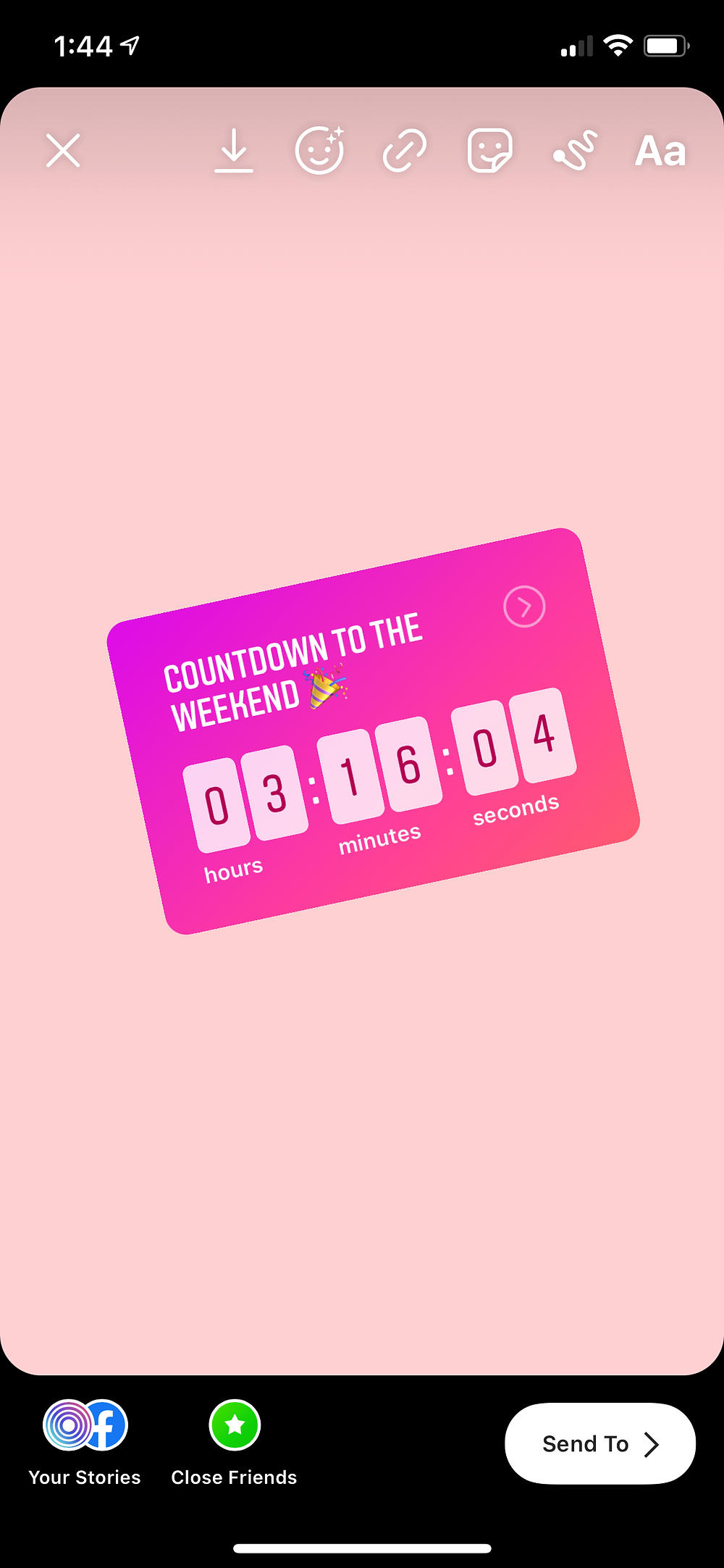 Instagram countdown to the weekend example on Ripl