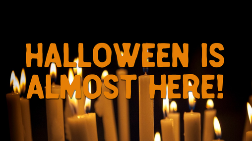 Halloween is almost here spooky orange candles with black background for social media