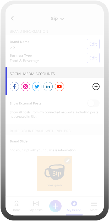 Inside the Ripl app where you can edit your connected social media accounts