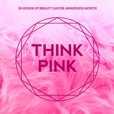 Pink fuzzy think pink social media post for Breast Cancer Awareness Month