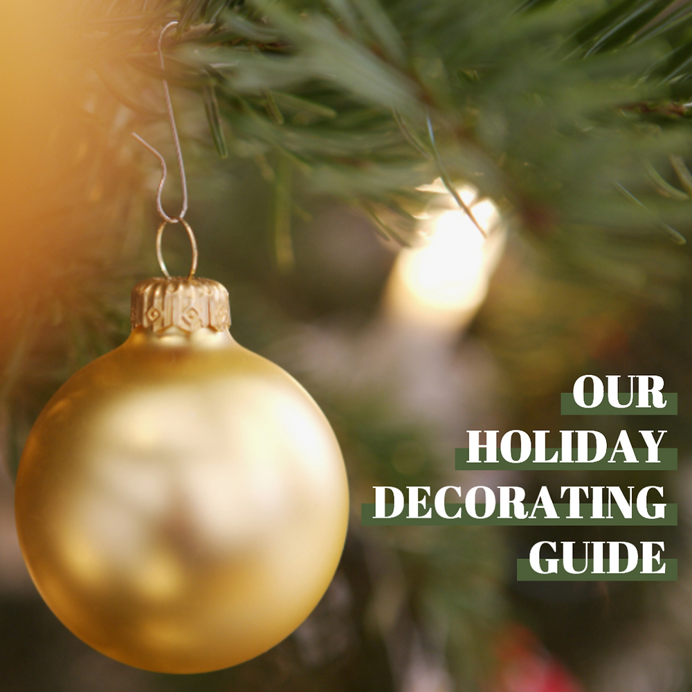 Holiday decorating guide social media post template with gold Christmas ornament on Christmas tree